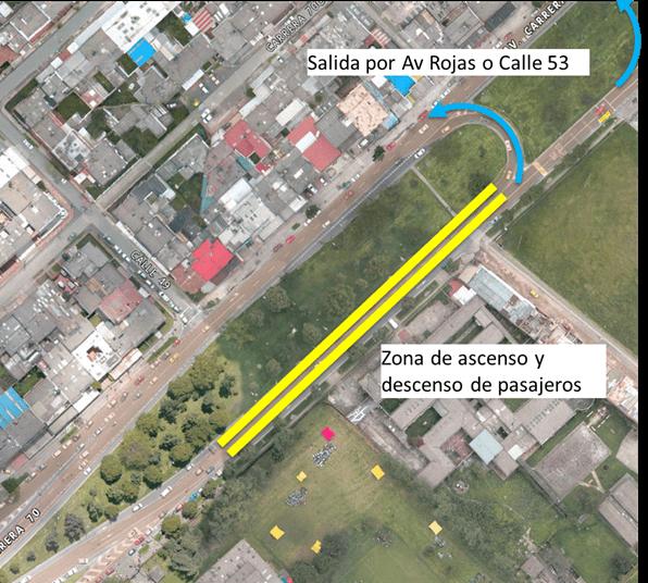 Zona amarilla sobre la Avenida Rojas o Carrera 70