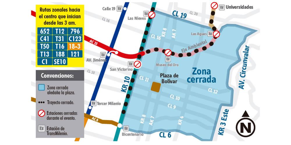 Zonas de desvíos de las rutas del SITP durante el 7 de septiembre