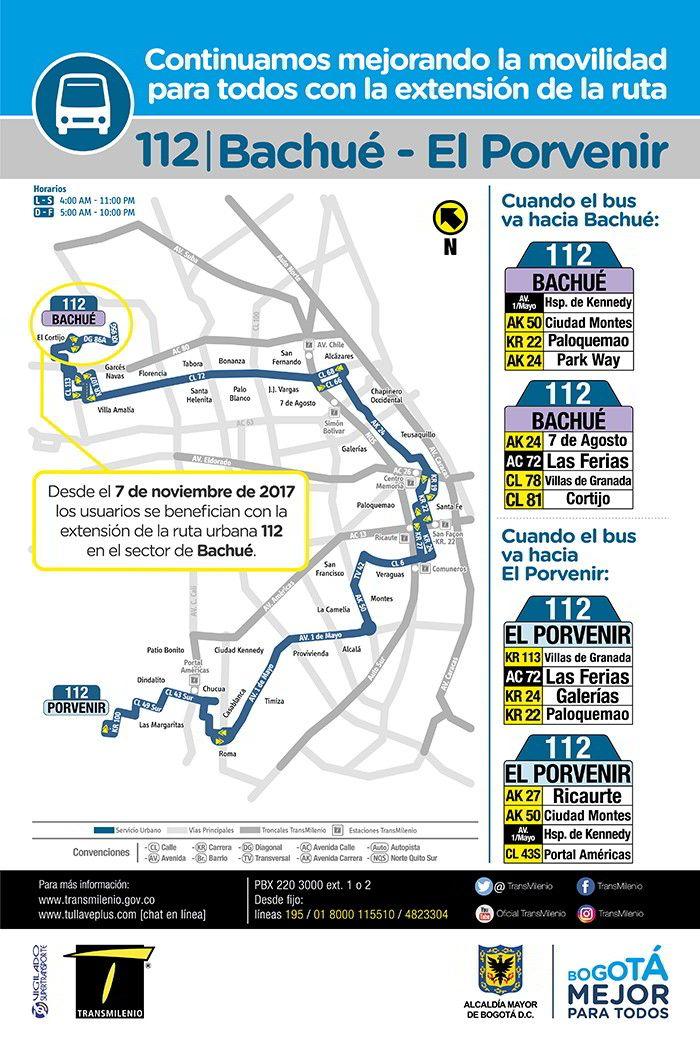 Mapa ruta urbana 112 desde noviembre 2017
