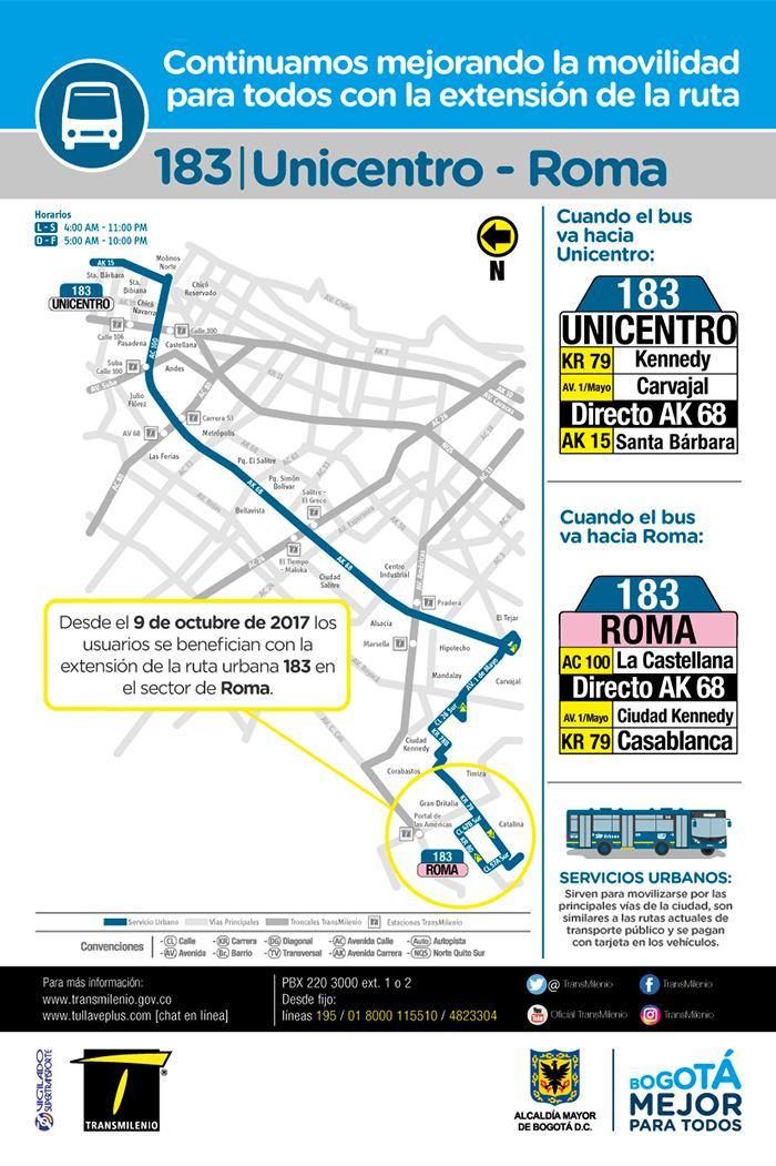 Mapa urbana 183 del SITP