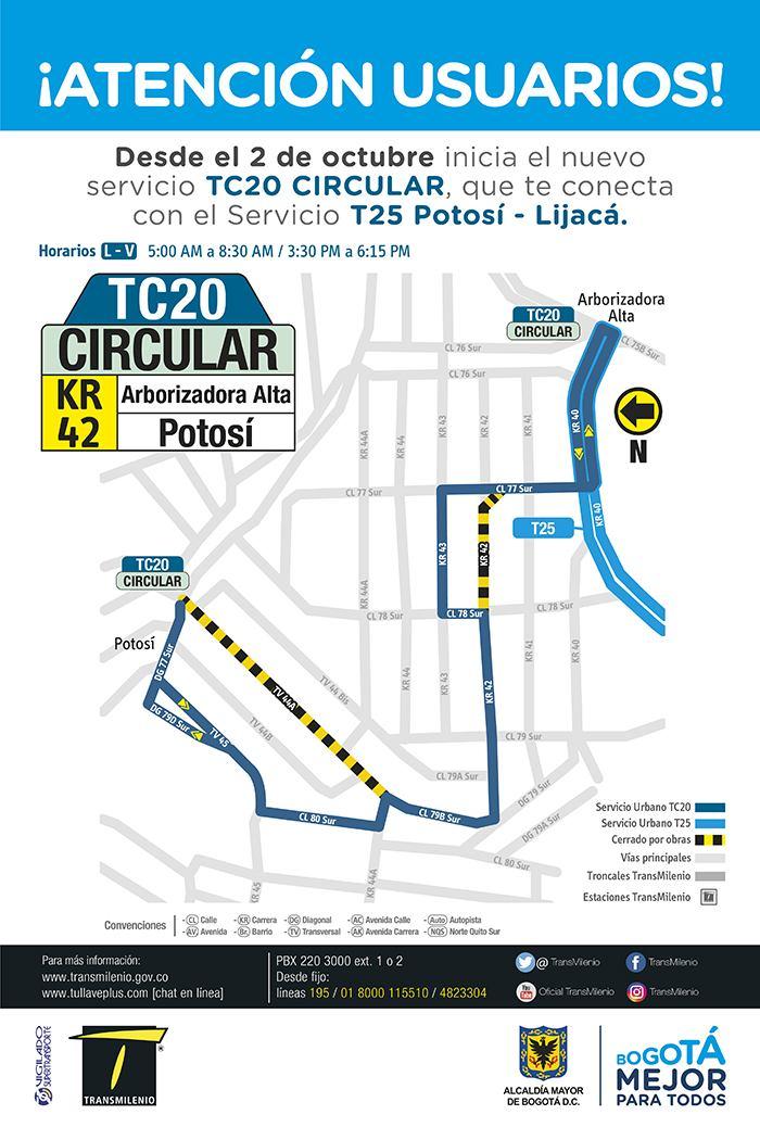 T25 Potosí - Lijacá, mapa