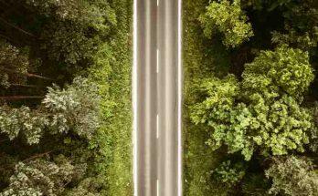 Vista superior de una carretera