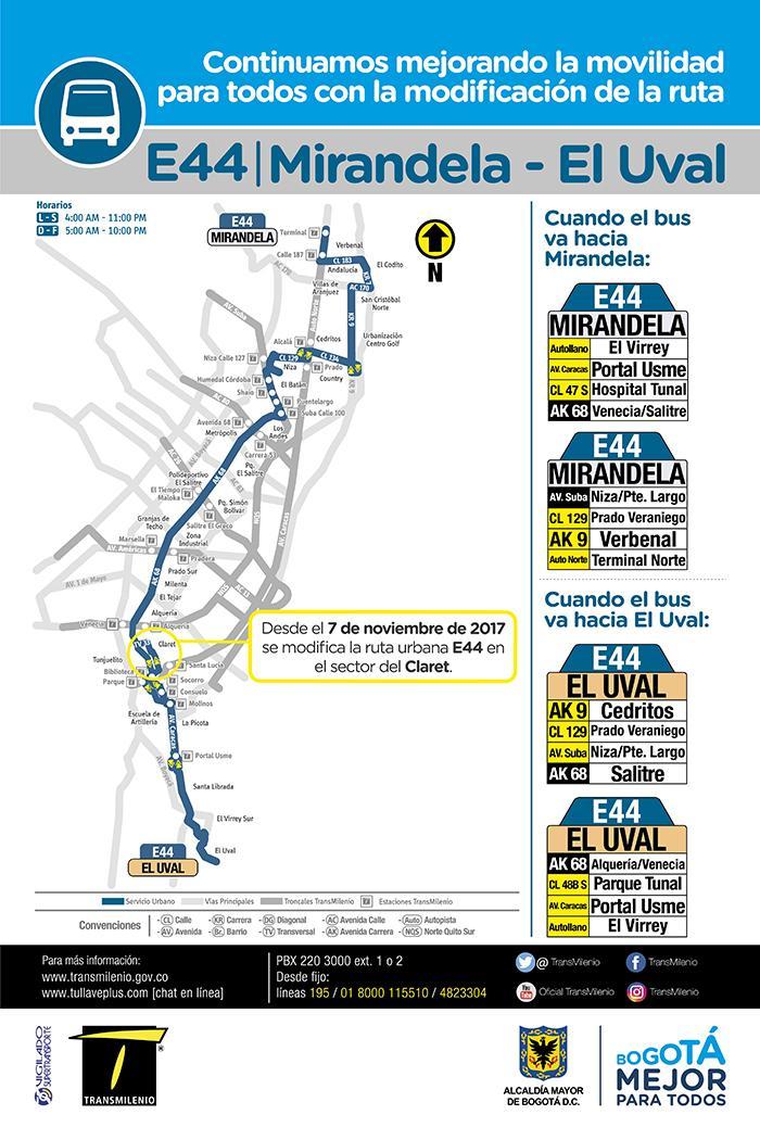 E44 - mapa de ruta desde el 7 de noviembre de 2017