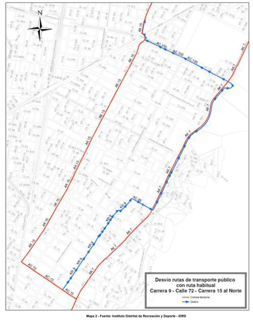 Desvíos para vehículos particulares durante la CICLOVÍA NOCTURNA diciembre 2017 (mapa 2)