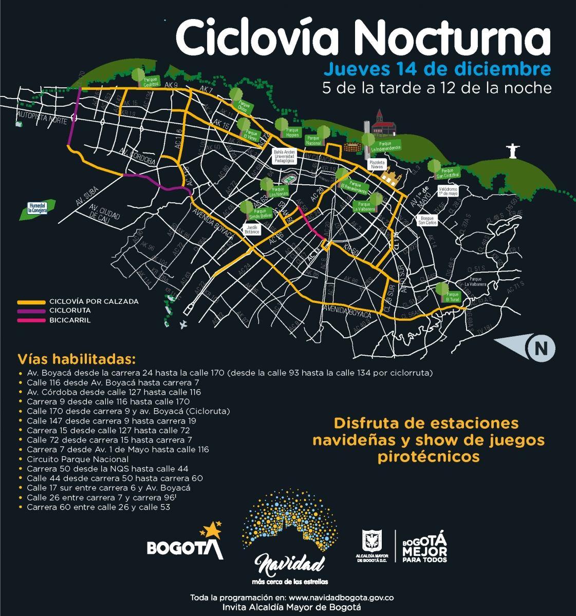 Mapa ciclovía nocturna 2017 - diciembre 14