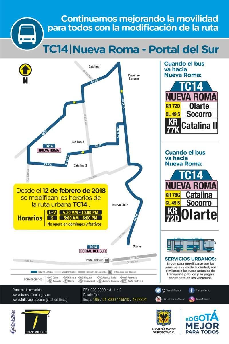 Mapa y horario de la ruta TC14 urbana