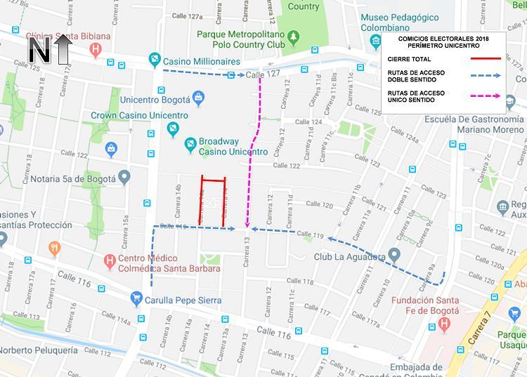 Mapa 2. Cierres viales perímetro Unicentro