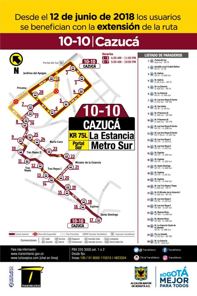 Ruta especial bus 10-10 Cazucá, Bogotá