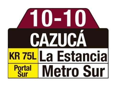 Ruta SITP: 10-10 Cazucá (tablas)