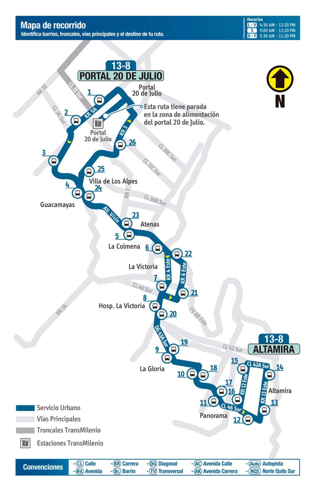 Ruta SITP: 13-8 Portal 20 de Julio ↔ Altamira [Urbana] (mapa)