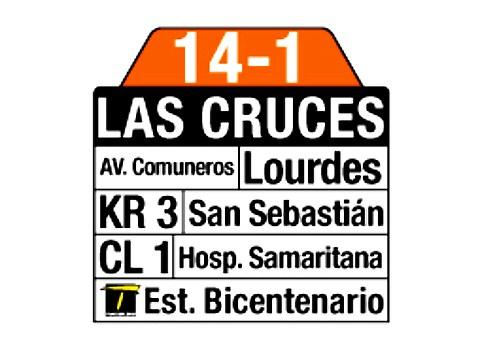 Ruta SITP: 14-1 → Las Cruces (tablas)