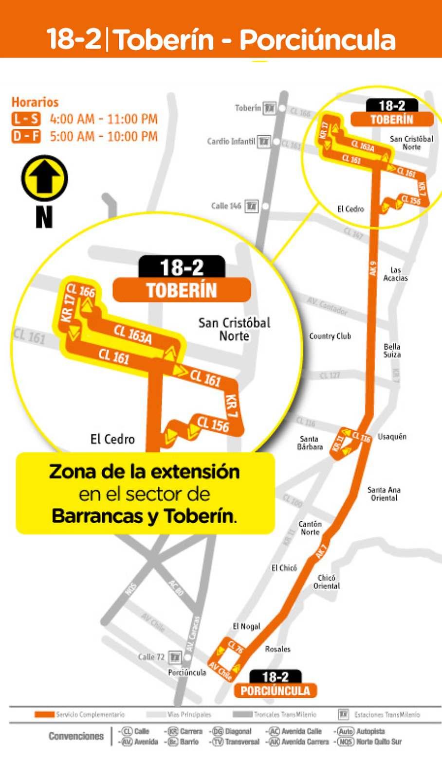 Ruta SITP: 18-2 Toberín ↔ Porciúncula (mapa)
