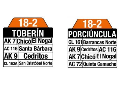 Ruta SITP: 18-2 Toberín ↔ Porciúncula (tablas)