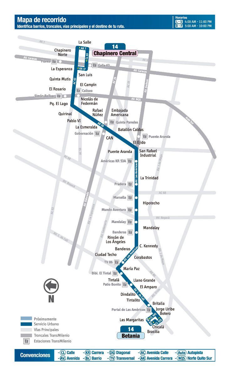 Ruta SITP: 14 Betania - Chapinero Central (mapa)