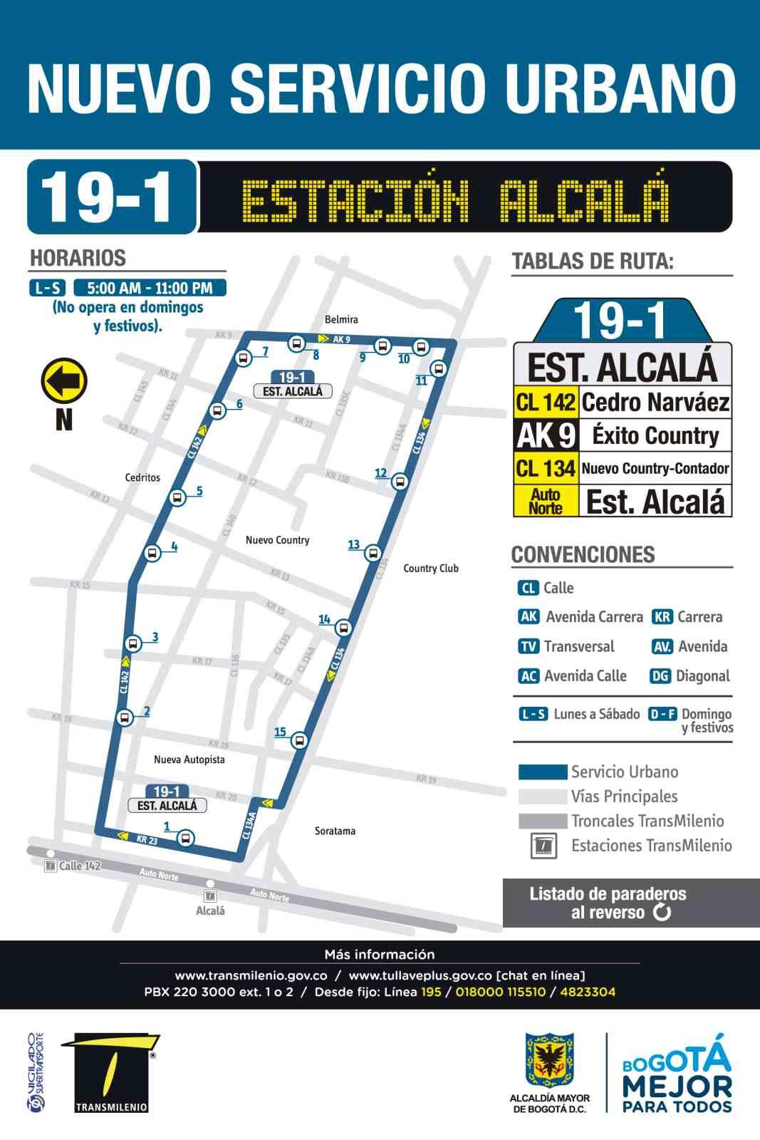 Ruta SITP: 19-1 Estación Alcalá [Urbana] (mapa)