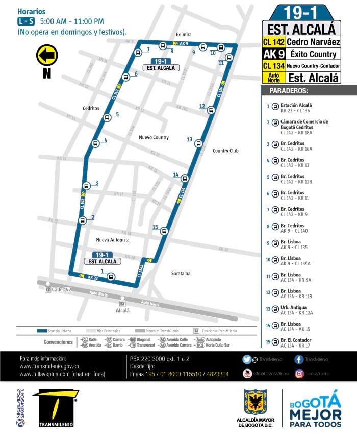 19-1 Estación Alcalá, mapa ruta urbana bus
