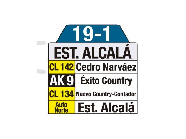 Ruta SITP: 19-1 Estación Alcalá [Urbana] (tablas)