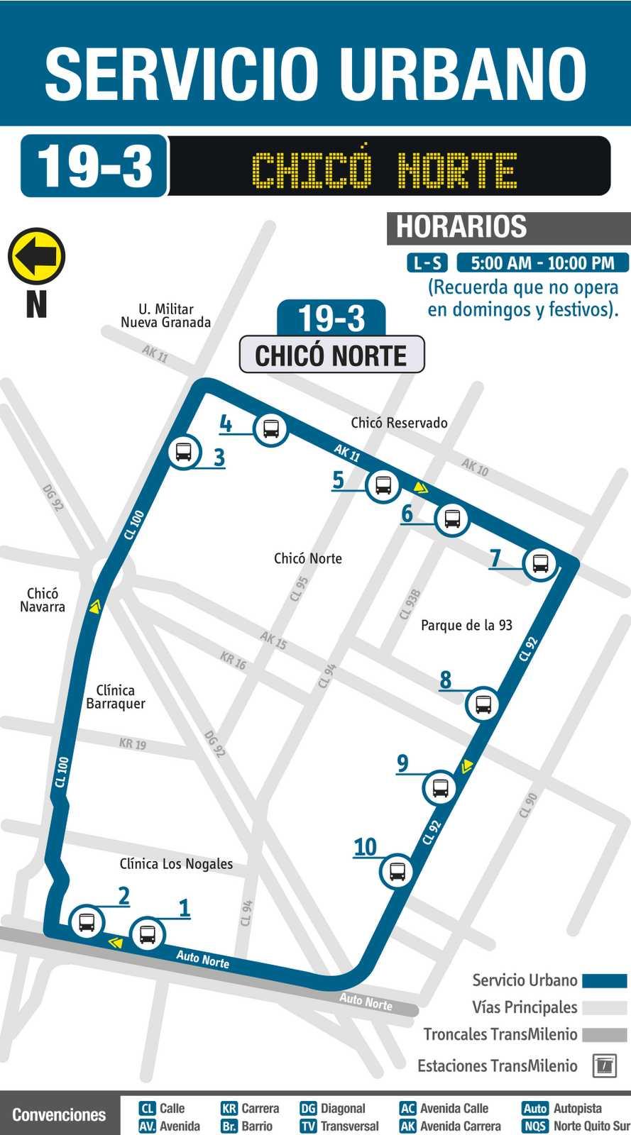 Ruta SITP: 19-3 Chicó Norte (mapa)