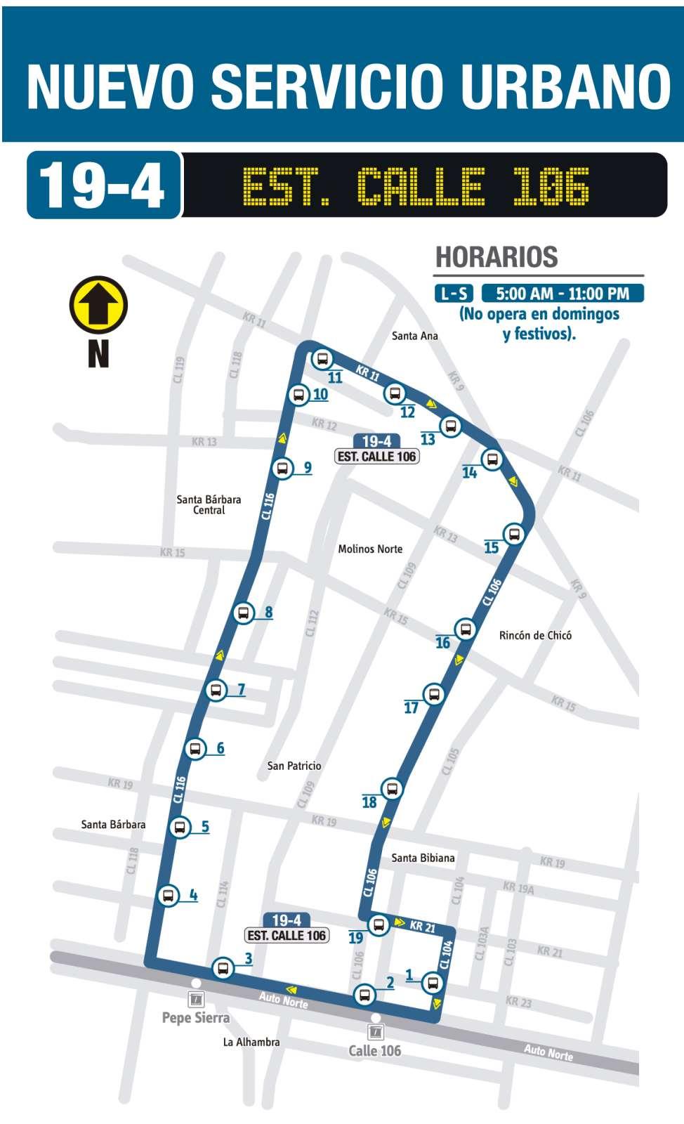 Ruta SITP: 19-4 Estación Calle 106 (recorrido)