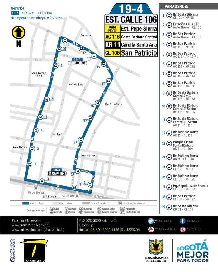 19-4 Estación Calle 106, mapa ruta bus