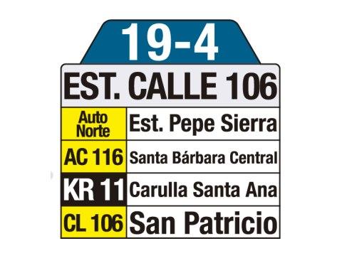 Ruta SITP: 19-4 Estación Calle 106 (tablas)
