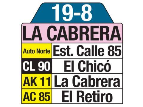 Ruta SITP: 19-8 La Cabrera (tablas)
