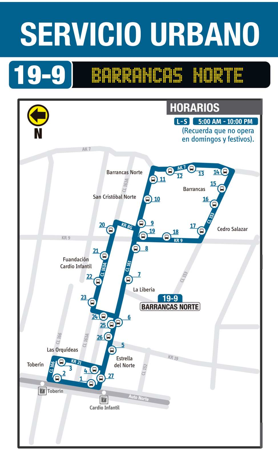 Ruta SITP: 19-9 Barrancas Norte (mapa)