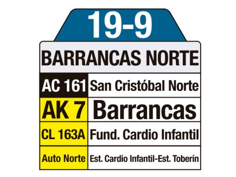 Ruta SITP: 19-9 Barrancas Norte (tablas)