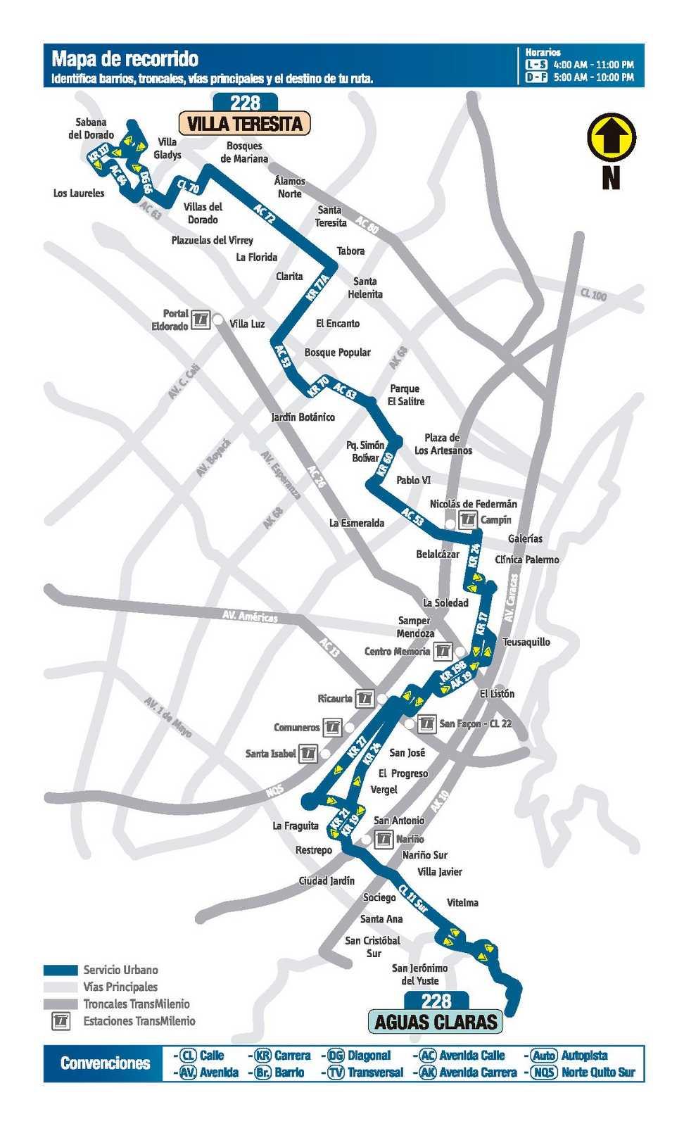 Ruta SITP: 228 Villa Teresita ↔ Aguas Claras (mapa)