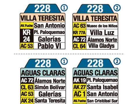 Ruta SITP: 228 Villa Teresita ↔ Aguas Claras (tablas)