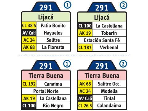 Ruta SITP: 291 Tierra Buena ↔ Lijacá (tablas)