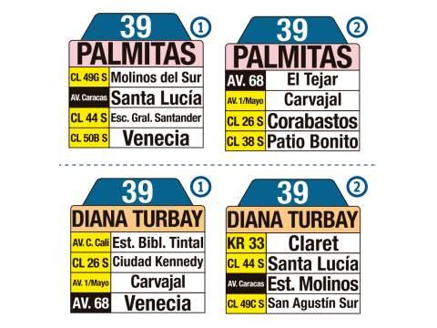 Ruta SITP: 39 Palmitas ↔ Diana Turbay (tablas)