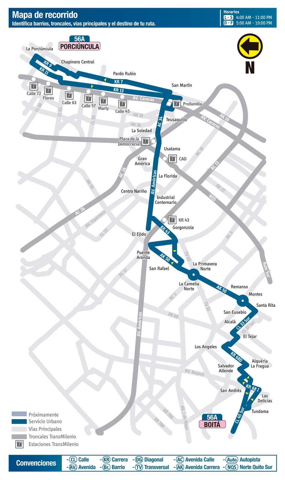 Ruta SITP: Ruta 56A Boitá ↔ Porciúncula (mapa)