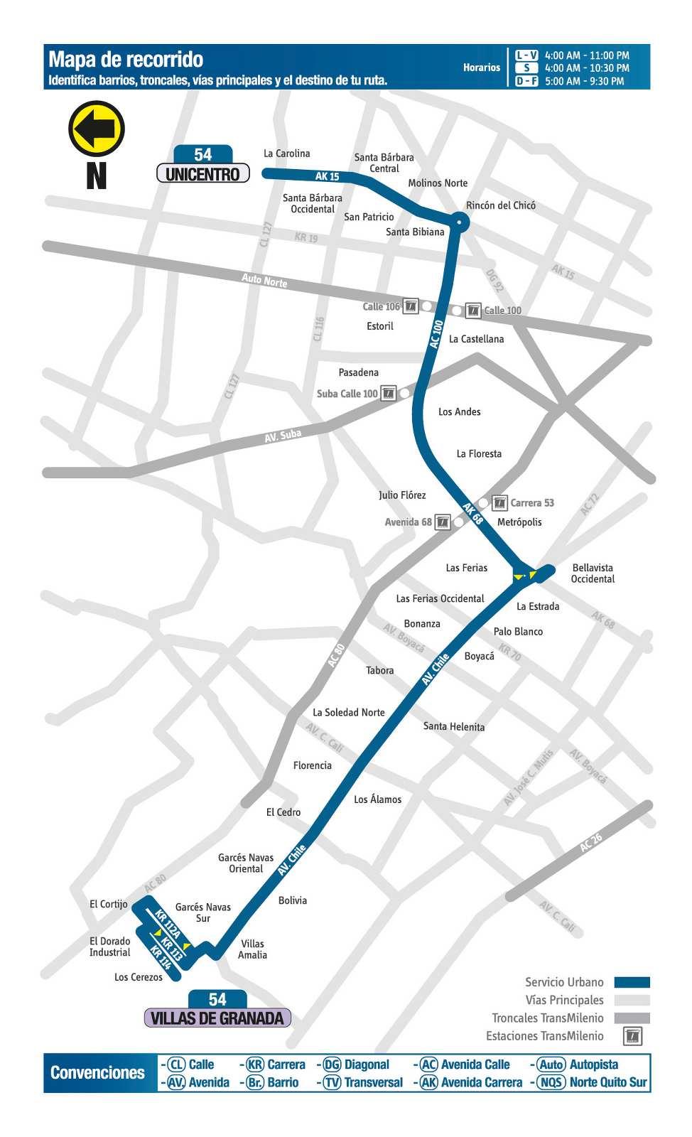 Ruta SITP: 54 Villas de Granada ↔ Unicentro (mapa)