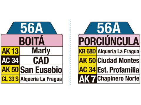 Ruta SITP: Ruta 56A Boitá ↔ Porciúncula (tablas)