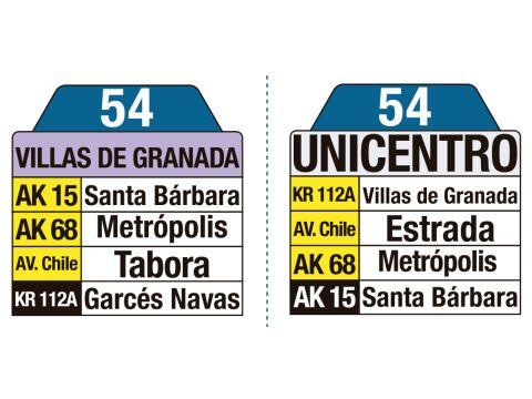 Ruta SITP: 54 Villas de Granada ↔ Unicentro (tablas)