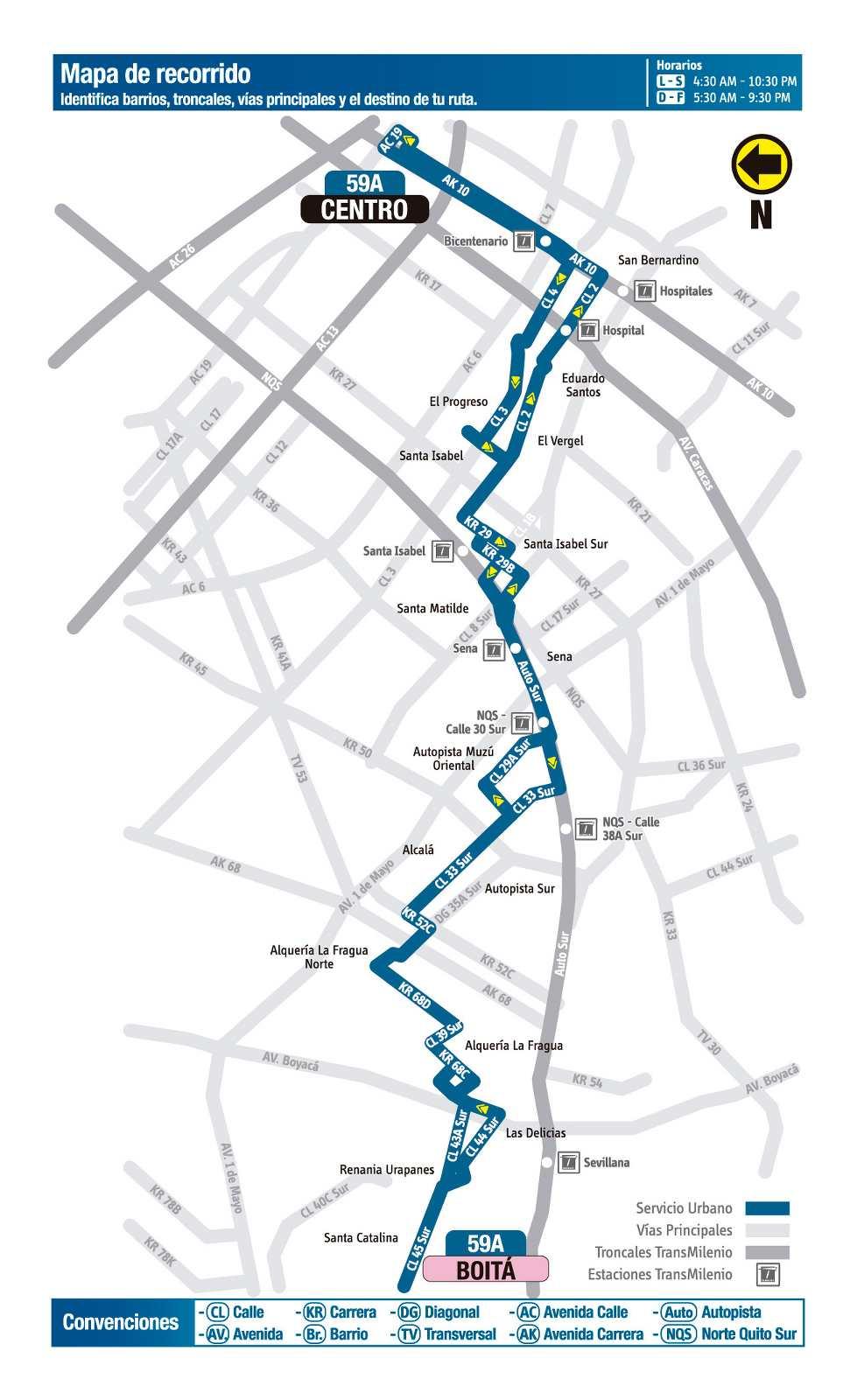 Ruta SITP: 59A Boitá ↔ Centro (mapa)