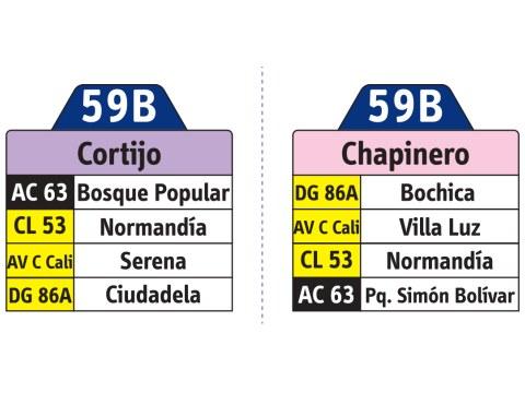 Ruta SITP: Ruta 59B Cortijo ↔ Chapinero (tablas)