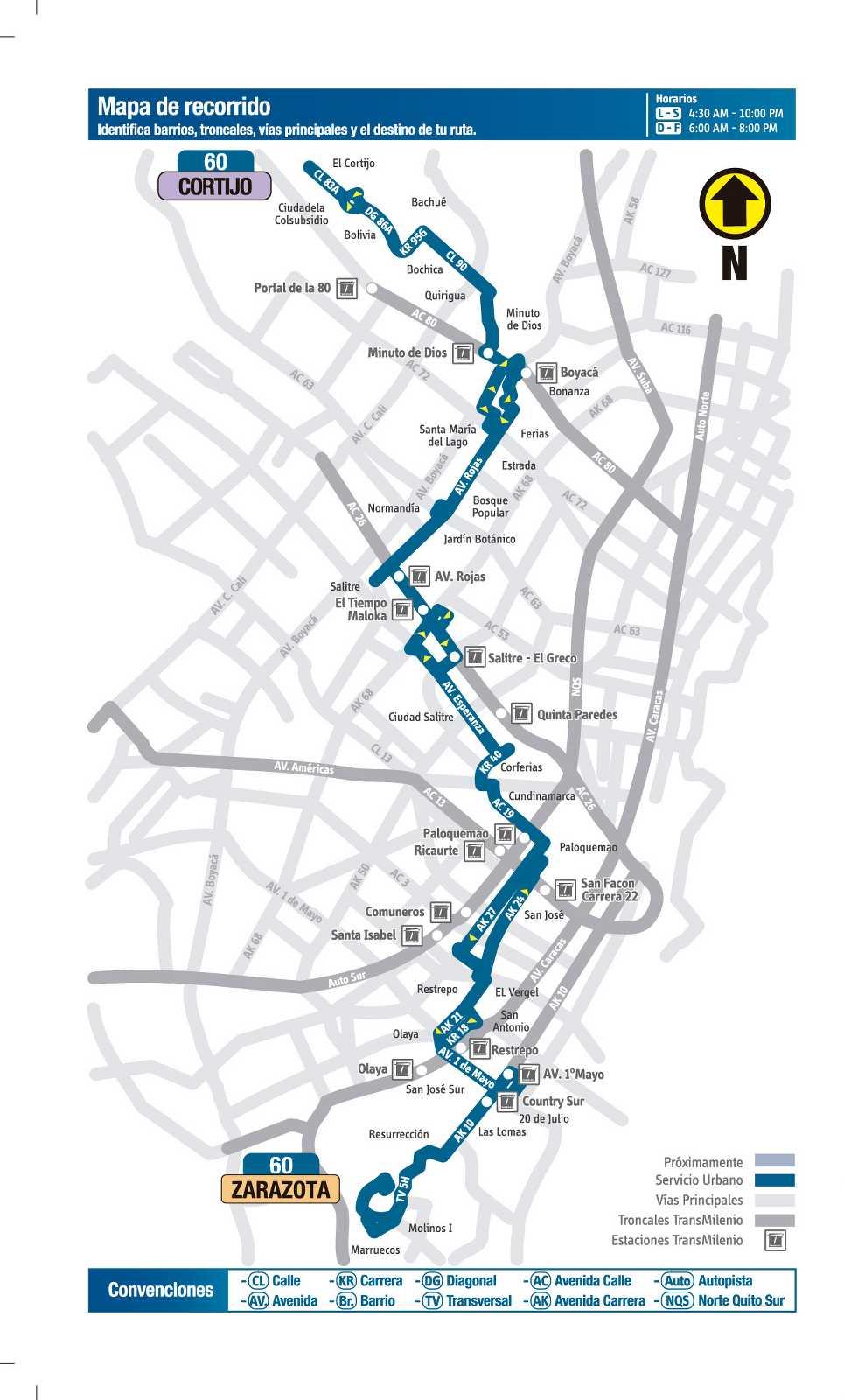 Ruta SITP: 60 Cortijo ↔ Zarazota (mapa)