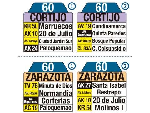 Ruta SITP: 60 Cortijo ↔ Zarazota (tablas)