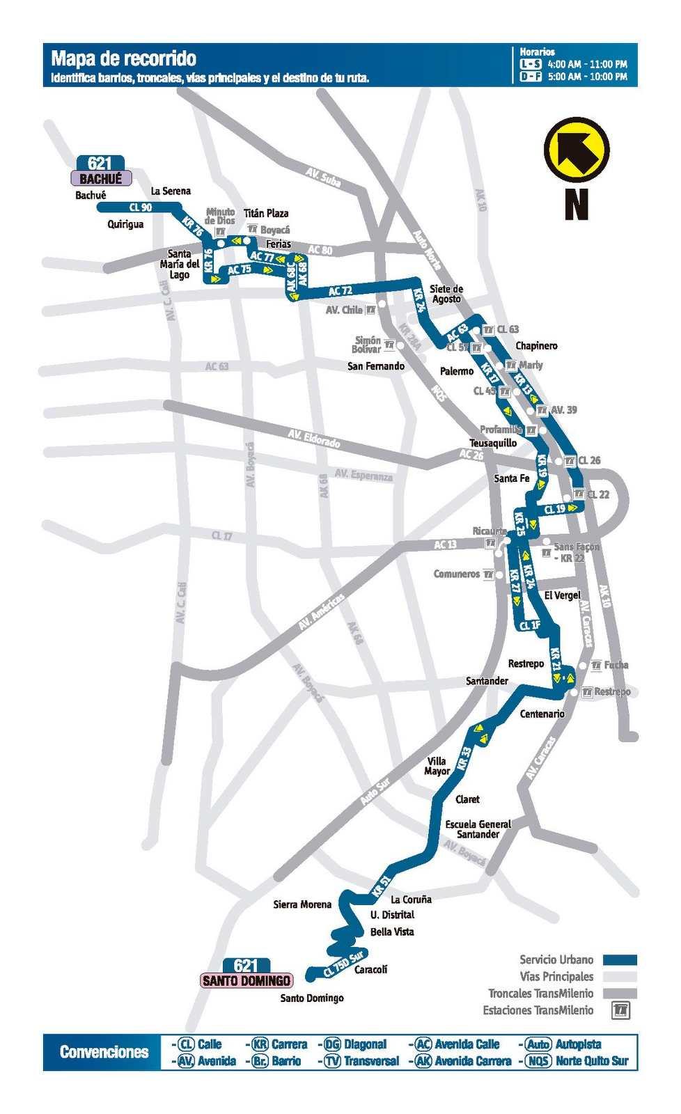 Ruta SITP: 621 Bachué ↔ Santo Domingo (mapa)