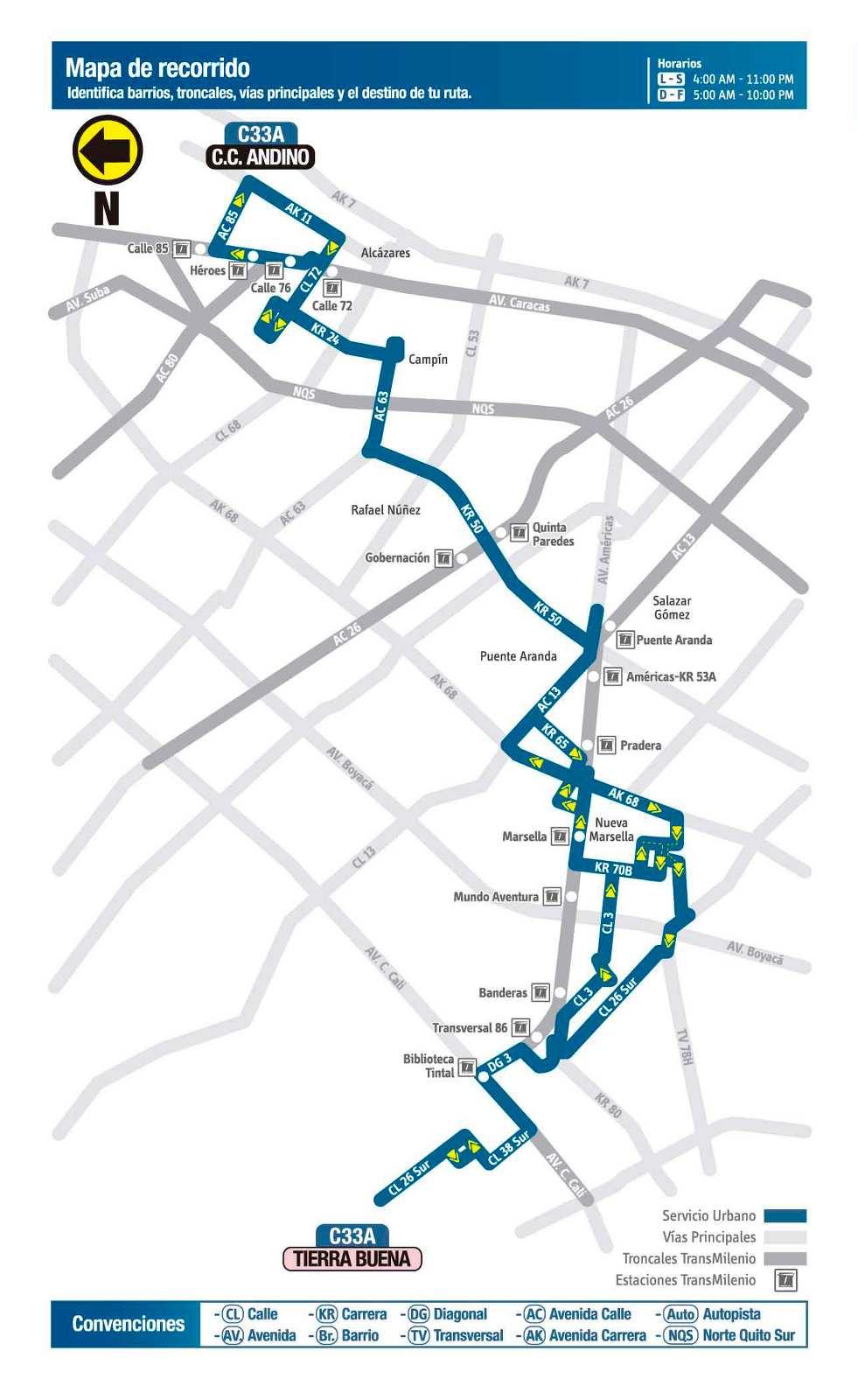 Ruta SITP: C33A > Centro Comercial Andino ↔ Tierra Buena (mapa)