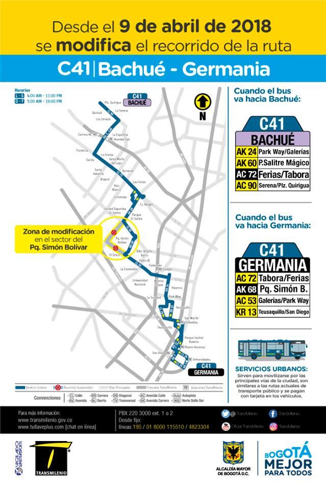 C41 - mapa ruta urbana SITP