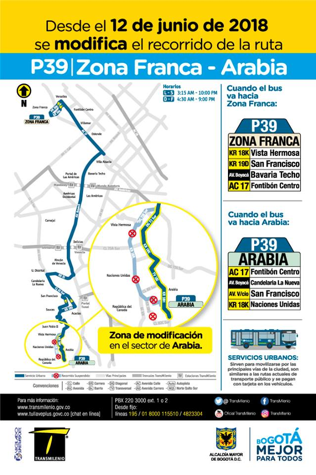 P39 - Zona Franca Arabia, mapa bus