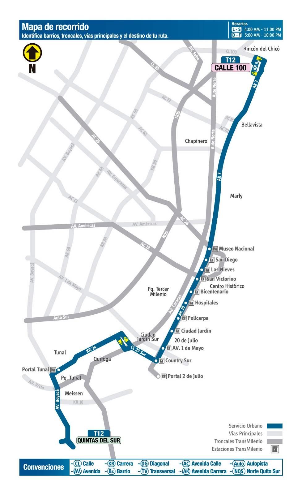 Ruta SITP: T12 Quintas del Sur ↔ Calle 100 (mapa)