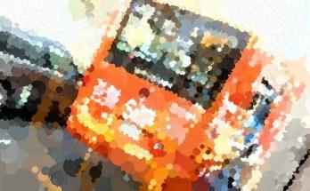 Foto bus complementario naranja, efecto puntillista
