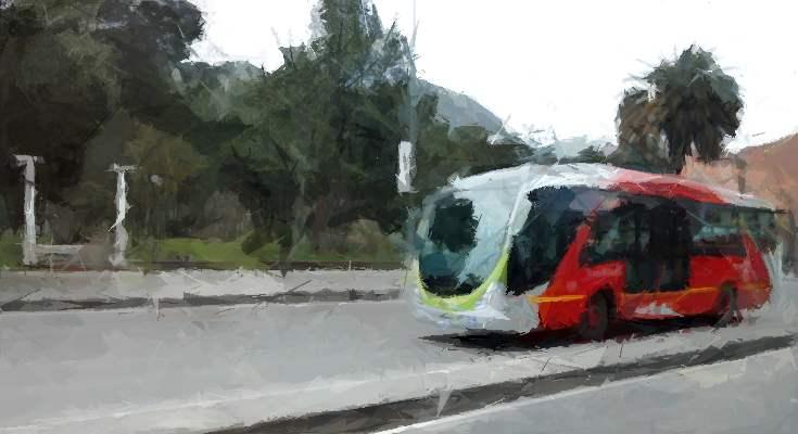 """Bus dual dirculando, foto con efecto """"emerger"""""""