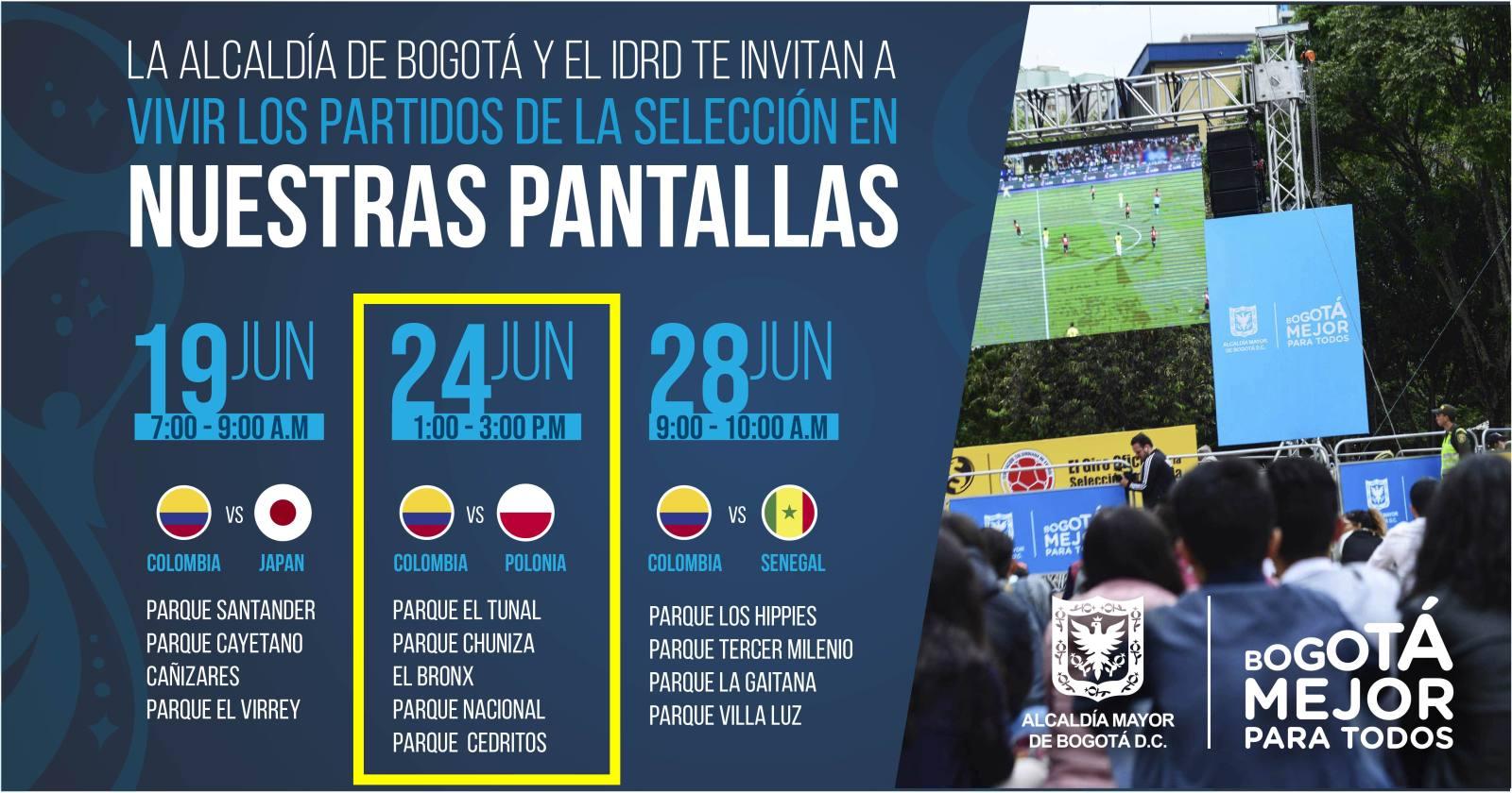 Partido Colombia vs. Polonia en pantalla grande (zonas y horarios)
