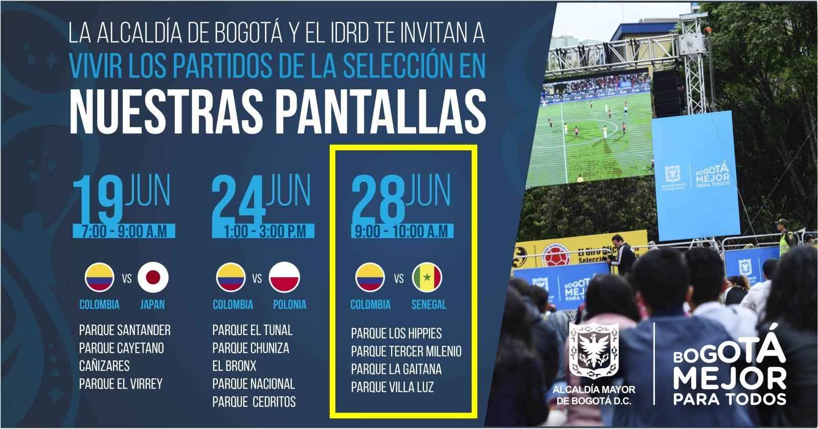 Partido Colombia vs. Senegal en pantalla grande (zonas y horarios)