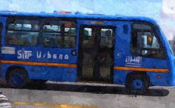 Foto bus urbano azul, lateral, foto efecto óleo
